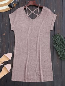 Criss Cross V Back Knit Shift Dress - Light Pink S