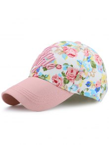 Floral Printed Letters Embroidery Baseball Hat - Pink