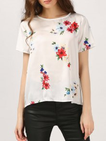 Cut Out Floral Chiffon Top