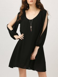 Chiffon Split Sleeve Tunic Dress - Black