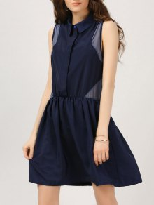 Half Button Voile Panel Casual Dress