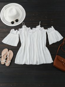 Cold Shoulder Flare Sleeve Lace Plead Top - White