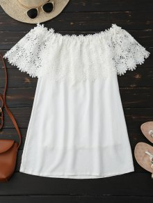 Off Shoulder Crocheted Lace Panel Top
