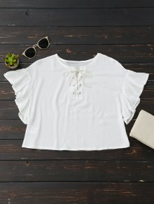 Cropped Lace Up Ruffled T-Shirt - White S