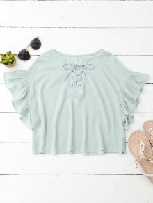 Cropped Lace Up Ruffled T-Shirt