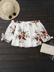 Off Shoulder Keyhole Floral Cropped Blouse - White