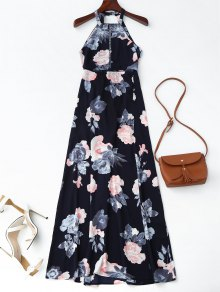 Self Tie Front Slit Floral Maxi Dress - Purplish Blue L
