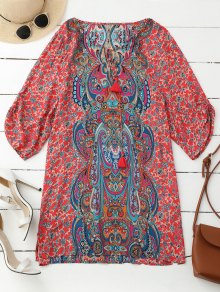 Ruched manga retro vestido de túnica de impresión de Paisley