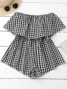 Checked Overlay Tube Romper