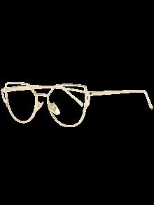 Metal Bar Golden Frame Pilot Sunglasses - Transparent