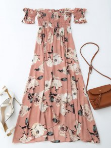Off Shoulder Shirred Slit Floral Maxi Dress