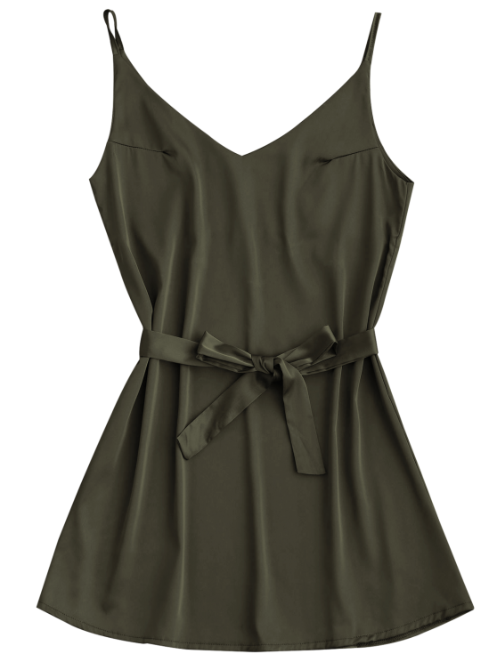 Satin Cami Slip Dress With Choker Strap - ARMY GREEN M Mobile