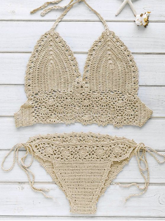 Halter Handwork Crochet Bathing Suit - KHAKI ONE SIZE(FIT SIZE XS TO M) Mobile
