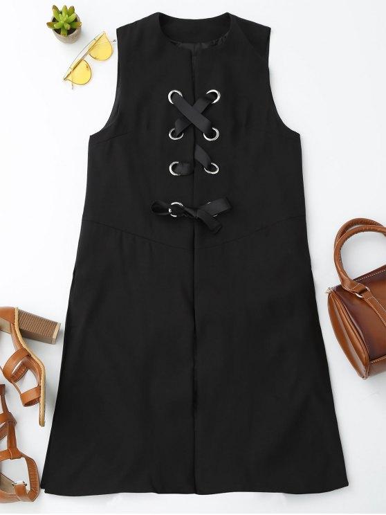 Back Slit Lace Up Longline Waistcoat - BLACK L Mobile