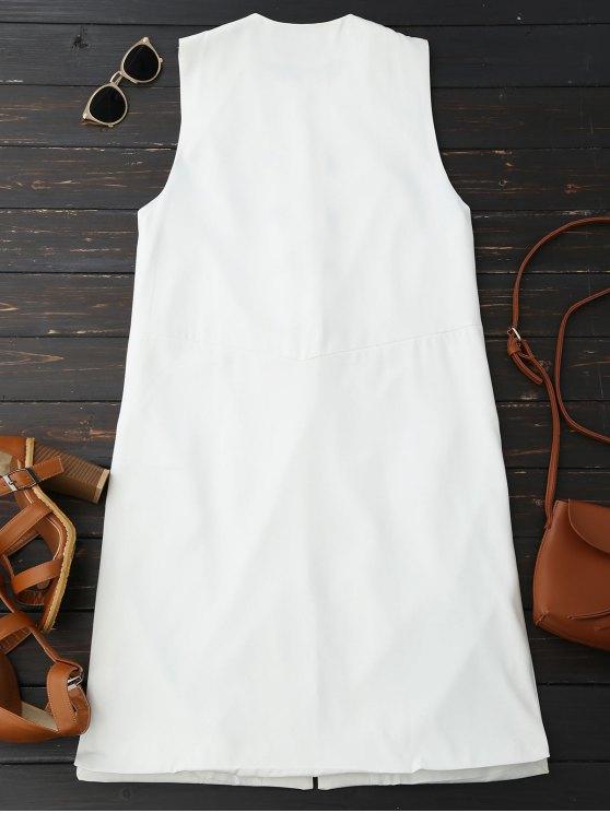 Back Slit Lace Up Longline Waistcoat - WHITE M Mobile