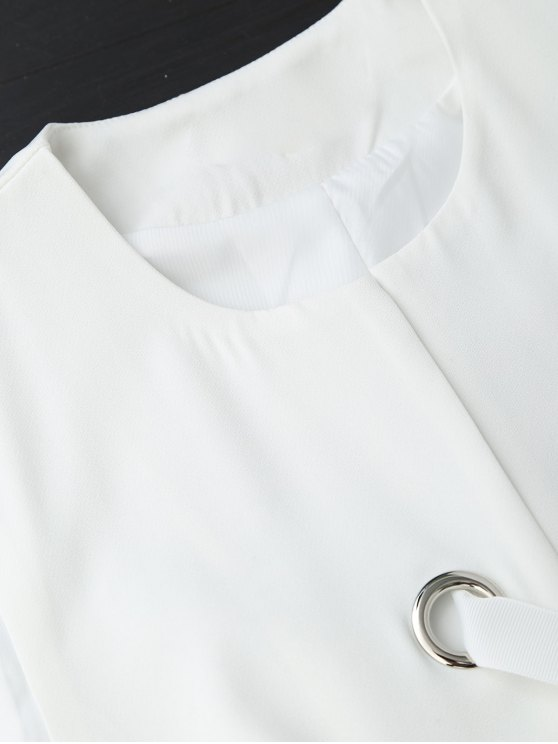 Back Slit Lace Up Longline Waistcoat - WHITE S Mobile