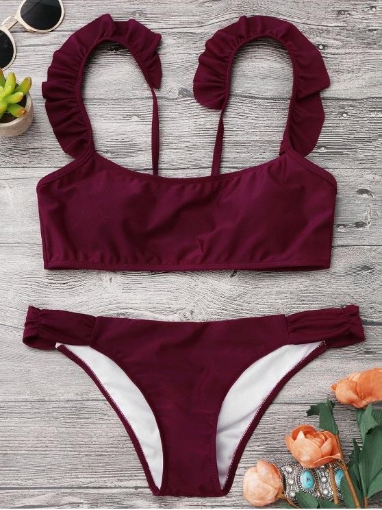 lady Shirred Frilled Bralette Bikini Set - BURGUNDY S