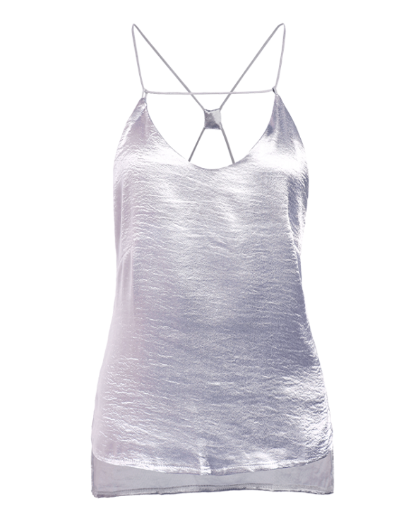 Solid Color High Low Cami Top - SILVER L Mobile