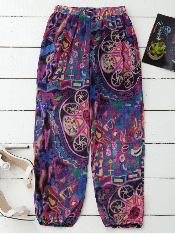 shop Printed Puff Beach Capri Pants - PURPLE XL