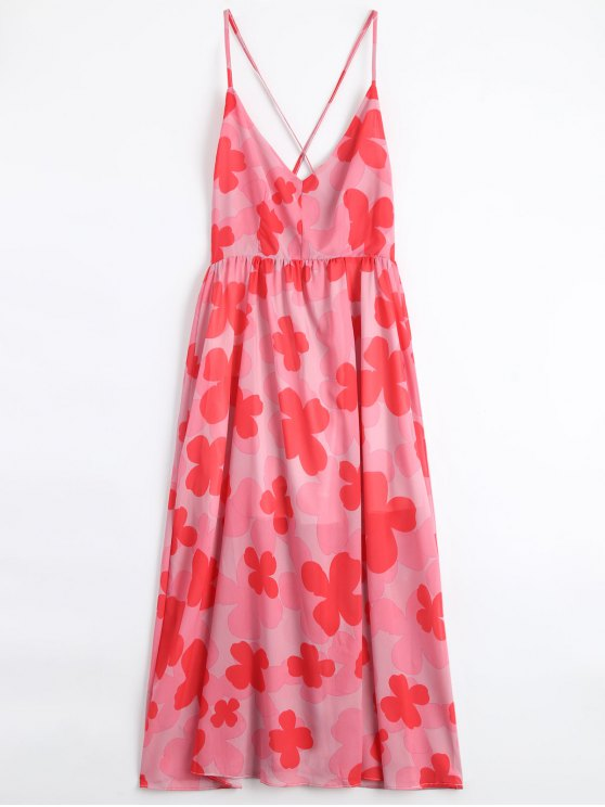 affordable Four-Leaf Clovers Print Backless Beach Dress - PINK L