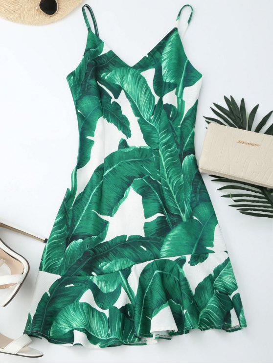 buy Tropical Print Ruffle Slip Summer Dress - GREEN S