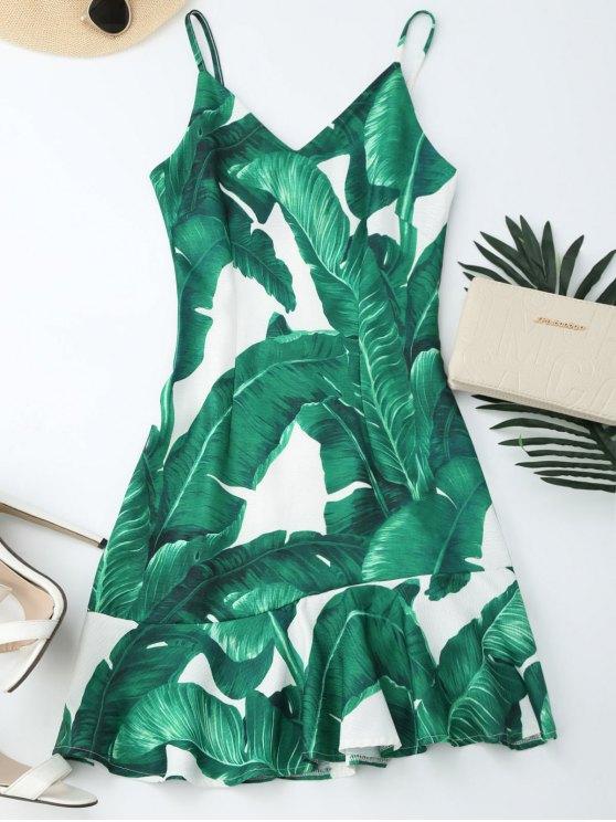 womens Tropical Print Ruffle Slip Summer Dress - GREEN M
