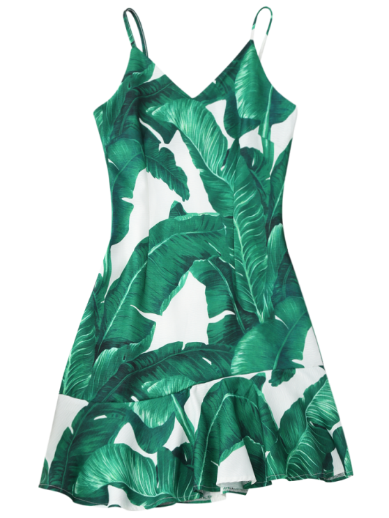 Tropical Print Ruffle Slip Summer Dress - GREEN L Mobile
