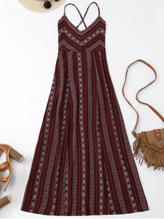 Slit Stripe Lace Up Robe Maxi Backless - Rouge vineux  M