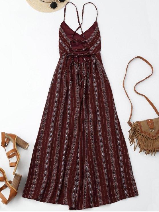 Slit Stripe Lace Up Backless Maxi Dress - WINE RED L Mobile
