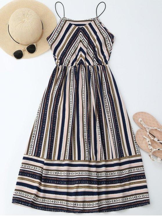 Elastric Waist Multi Stripes Sundress - Multicolore L