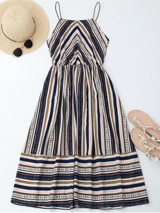 Elastric Waist Multi Stripes Sundress - COLORMIX XL Mobile