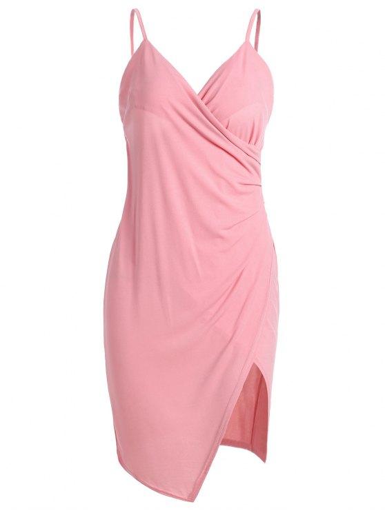 Spaghetti Strap Ruched Asymmetric Bodycon Vestido - Rosa XL