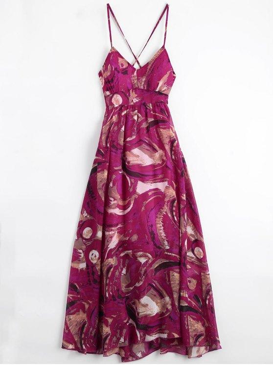 Bohemian Lace Up Vestido de vacaciones con estampado acolchado - Multicolor S