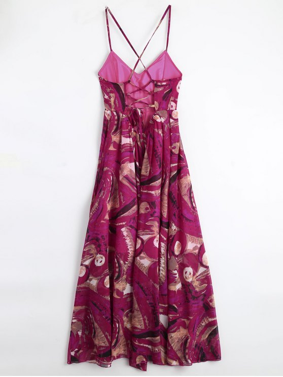 Bohemian Lace Up Padded Print Holiday Dress - MULTICOLOR M Mobile