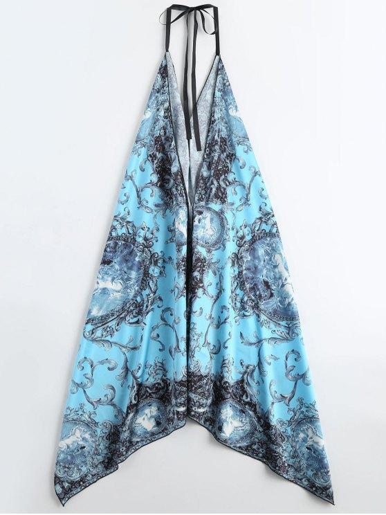 Halter Satin Open Back Asymmetric Holiday Dress - LAKE BLUE ONE SIZE Mobile