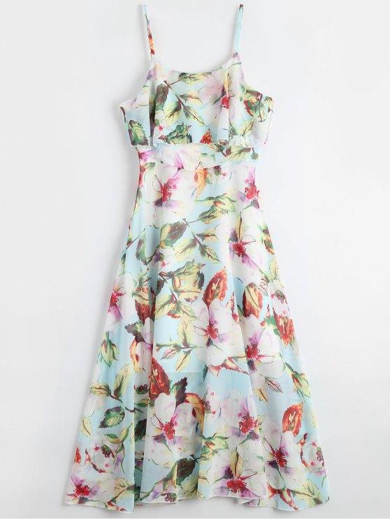 sale Floral Ruffle Spaghetti Strap Bohemian Dress - FLORAL S