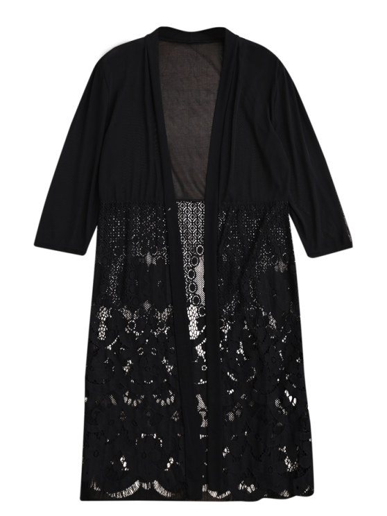 Mesh Panel Lace Kimono Cover Up - BLACK ONE SIZE Mobile