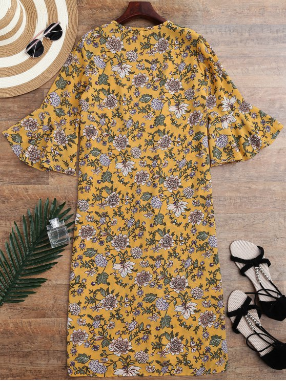 Bell Sleeve Tiny Floral Slit Kimono Cover Up - YELLOW ONE SIZE Mobile
