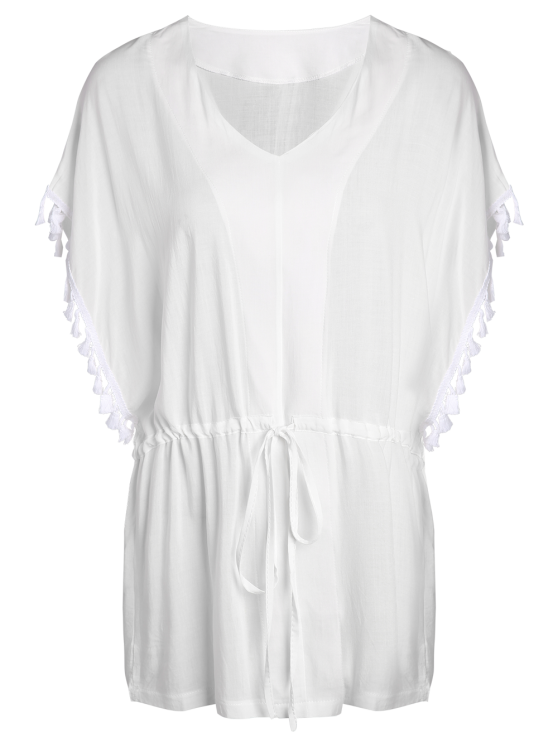 Solid Color V-Neck Batwing Sleeve Drawstring Dress - WHITE M Mobile