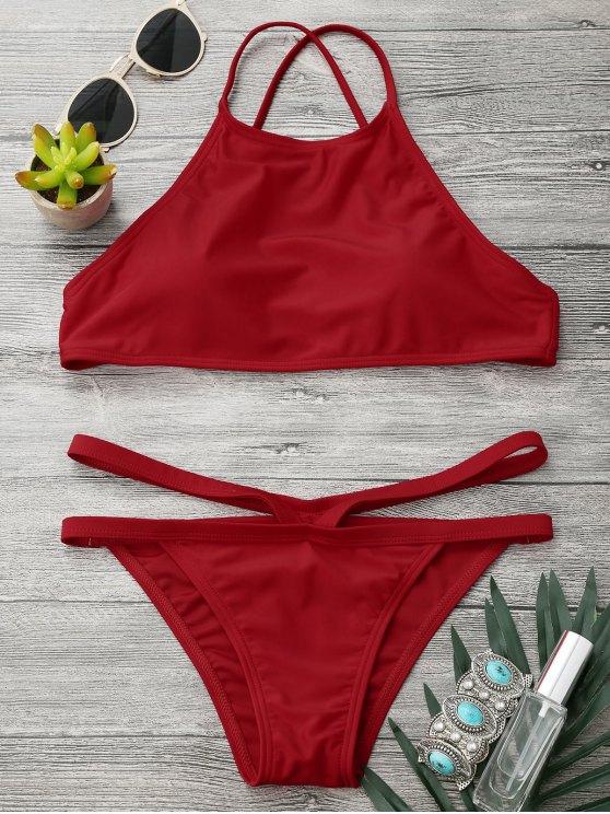 women High Neck V Strap Thong Bikini Set - RED S