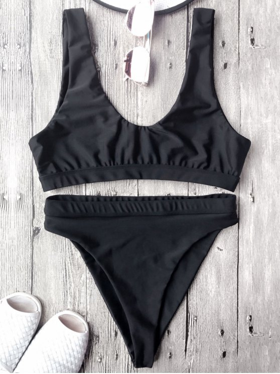 online High Cut Scoop Front Bikini Set - BLACK M
