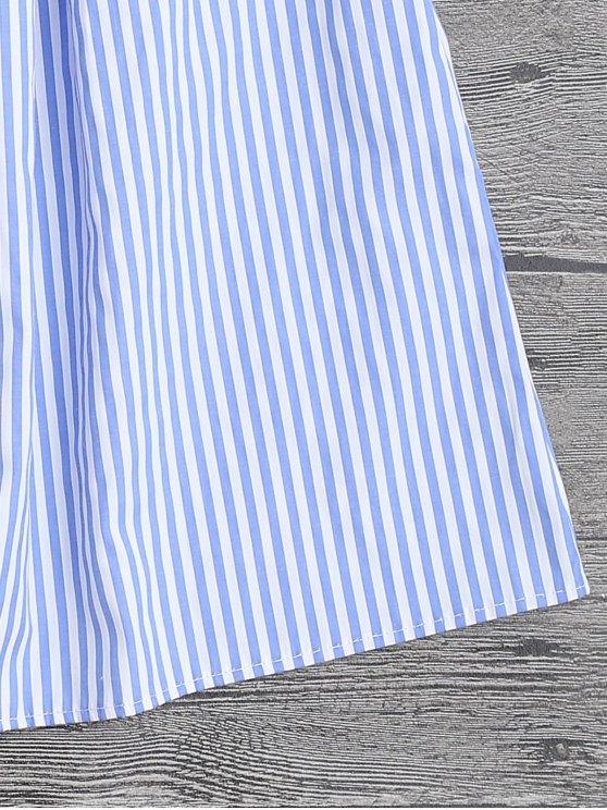 Stripes Embroidered Off The Shoulder Top - STRIPE M Mobile