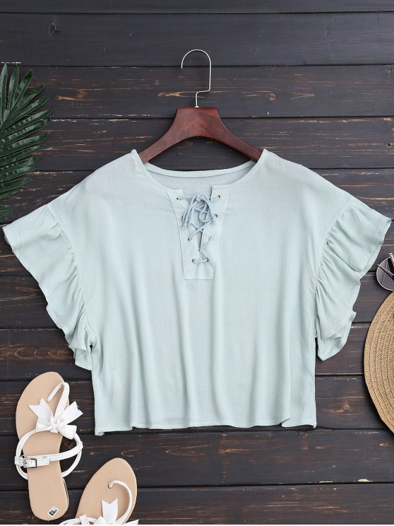 lady Ruffles Cropped Lace Up Top - LIGHT GREEN L