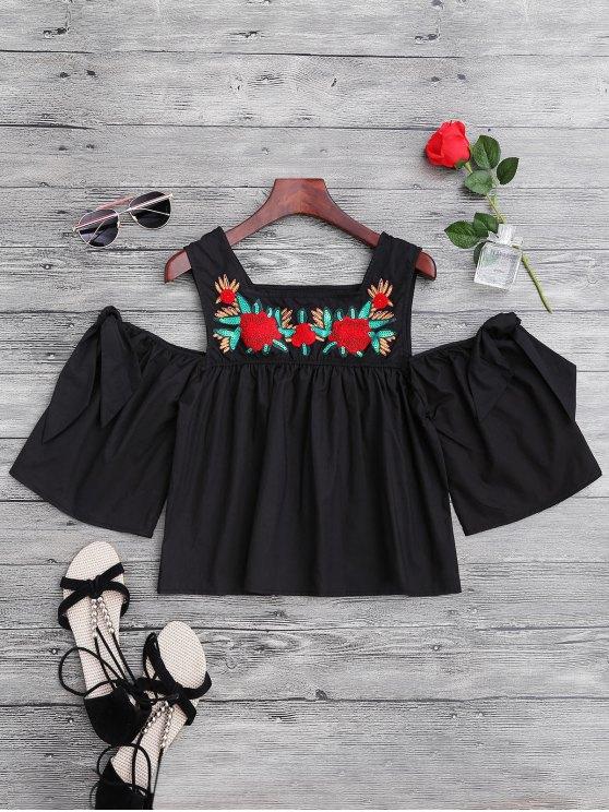 Top de hombro frío con lentejuelas de flores - Negro L