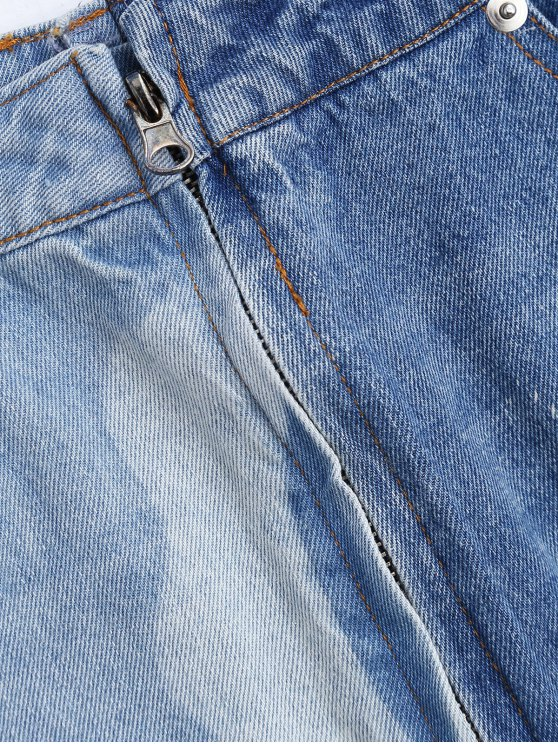 Cutoffs Ripped Denim Skirt - DENIM BLUE S Mobile