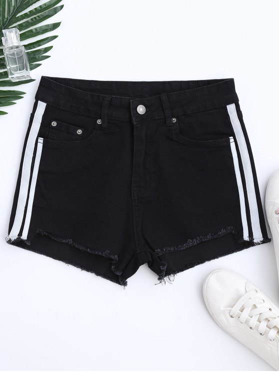 Color Block Cutoffs Shorts - BLACK S Mobile
