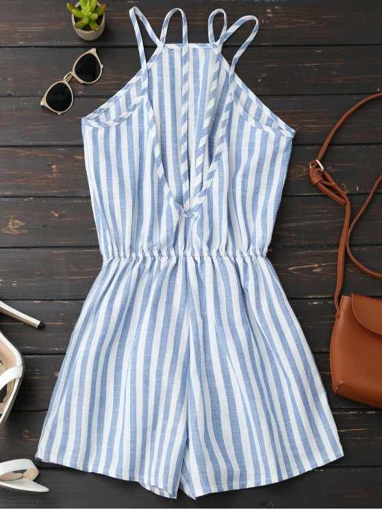 Backless Striped Romper - BLUE S Mobile