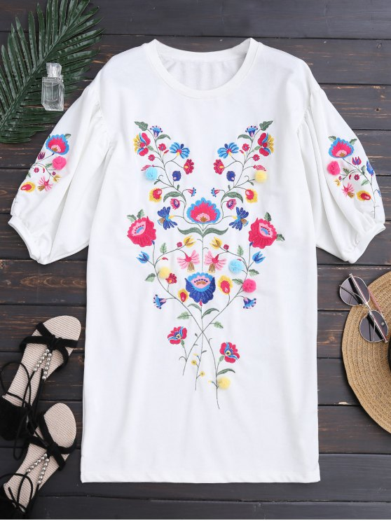 trendy Dolman Sleeve Floral Embroidered Straight Dress - WHITE L