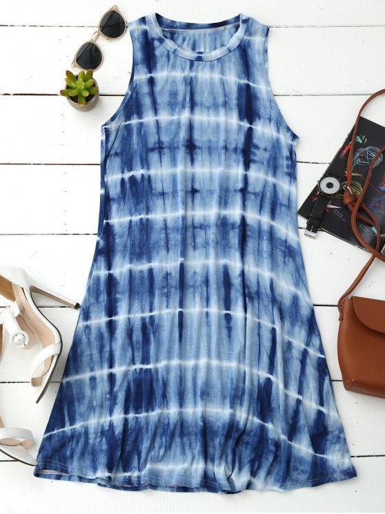trendy Tie Dye Cotton Blend Tank Dress - BLUE XL
