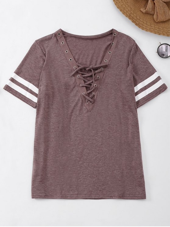 fashion Lace Up T-Shirt With Stripe - BEGONIA S